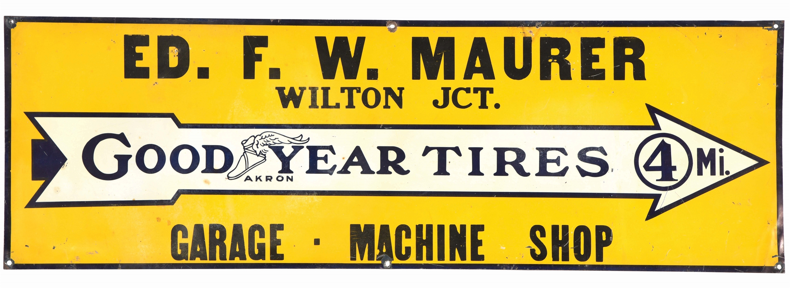 GOODYEAR TIRES TIN TACKER SIGN W/ WINGED FOOT & ARROW GRAPHIC.