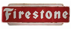 FIRESTONE TIRES LARGE PORCELAIN SIGN W/ EMBOSSED PORCELAIN EDGES.