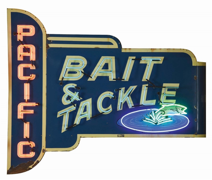OUTSTANDING PACIFIC BAIT & TACKLE PORCELAIN SIGN W/ FISH GRAPHIC.