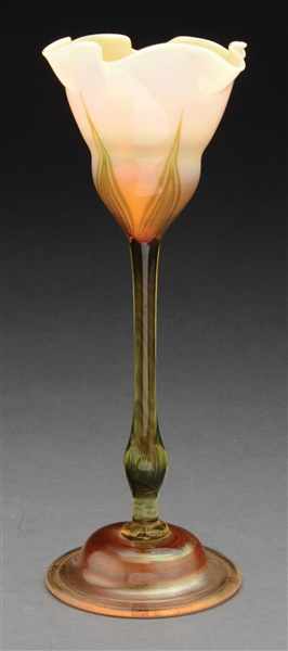 TIFFANY STUDIOS FAVRILE RUFFLED FLOWER FORM VASE.