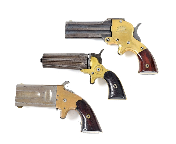(A) LOT OF 3: MARSTON, RUPERTUS, AND AMERICAN ARMS PISTOLS.