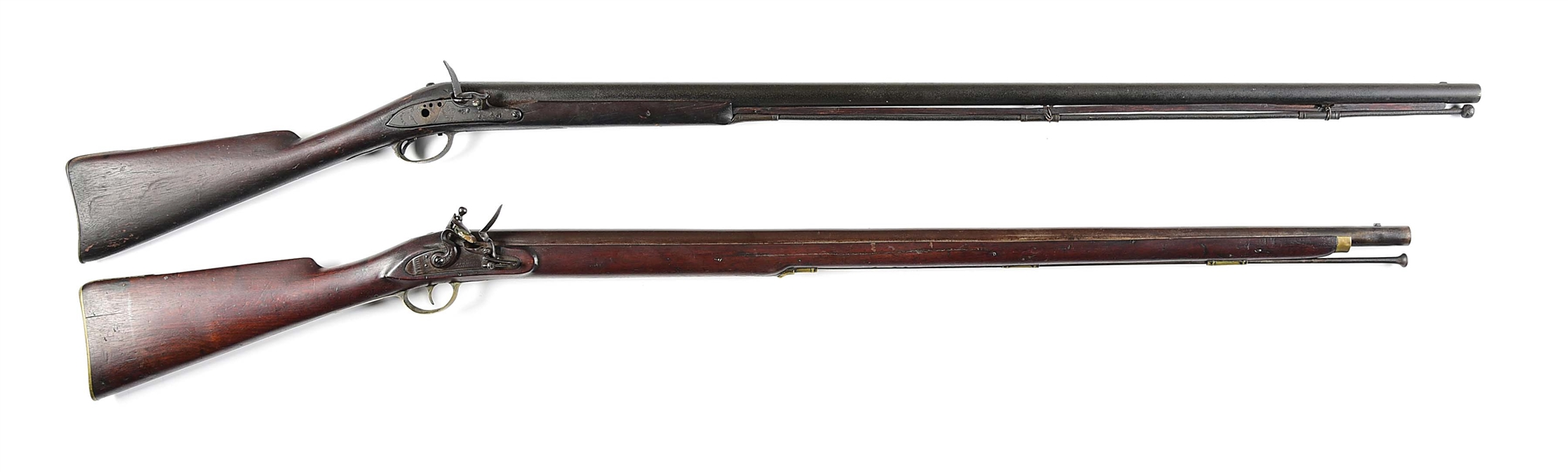 (A) LOT OF 2: ASHMORE WARRANTED FLINTLOCK RIFLE TOGETHER WITH A TOWER FLINTLOCK, TOWER MISSING PARTS.