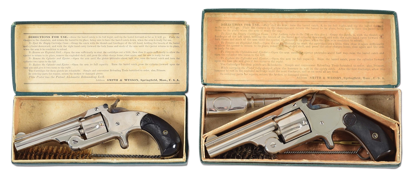 (A) LOT OF TWO: OUTSTANDING PAIR OF 32 & 38 SMITH & WESSON SINGLE ACTION REVOLVERS IN ORIGINAL BOXES.