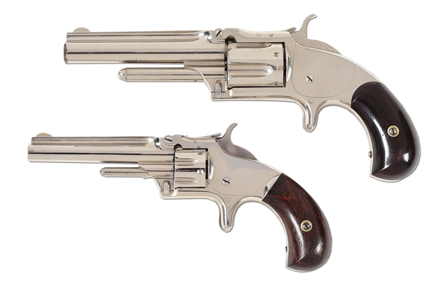 (A) LOT OF 2: SMITH AND WESSON MODEL NUMBER 1-1/2 .32 RF AND MODEL NUMBER 1, 3RD ISSUE .22 RF REVOLVERS.