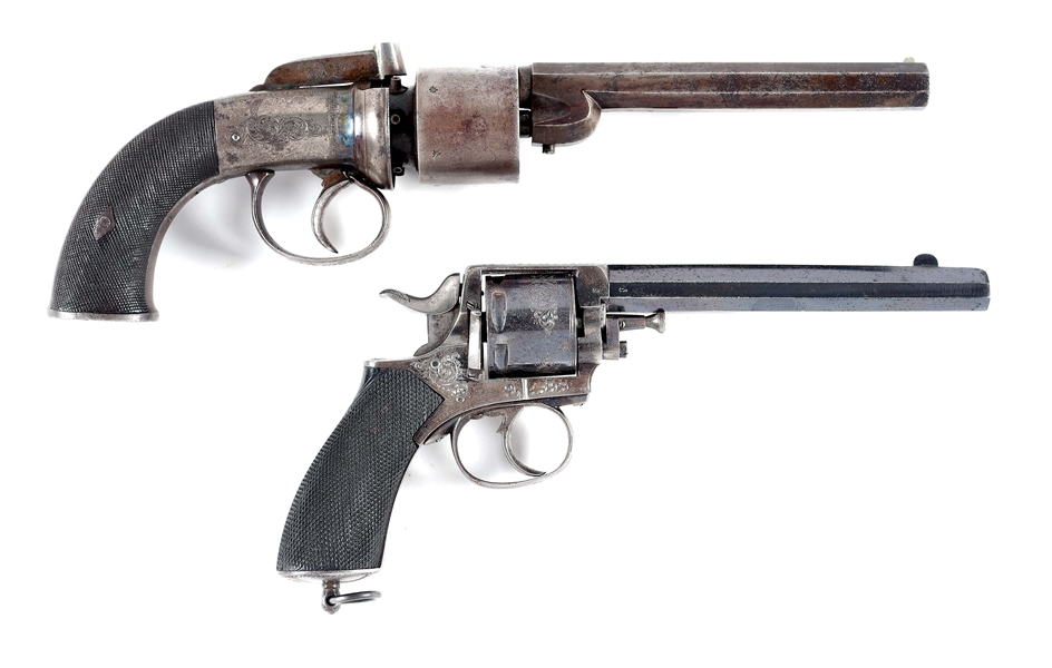 (A) LOT OF 2: ENGLISH BAR HAMMER .45 CALIBER REVOLVER AND TRANTERS PATENT BELGIAN REVOLVER.