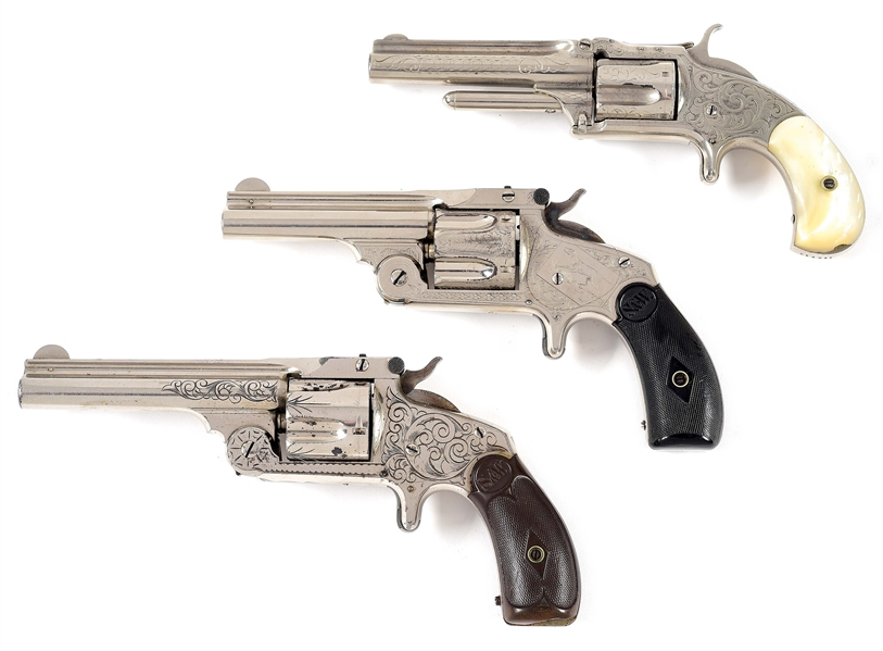 (A) COLLECTORS LOT OF 3: SMITH & WESSON ENGRAVED REVOLVERS.