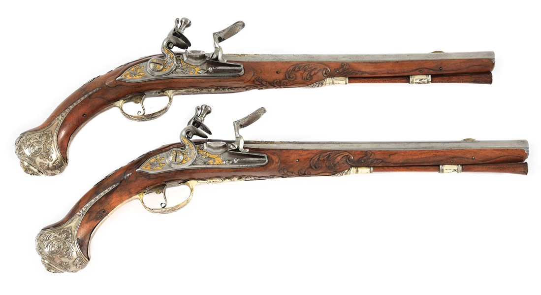 (A) PAIR OF SILVER MOUNTED FLINTLOCK PISTOLS BY J.J. BEHR.
