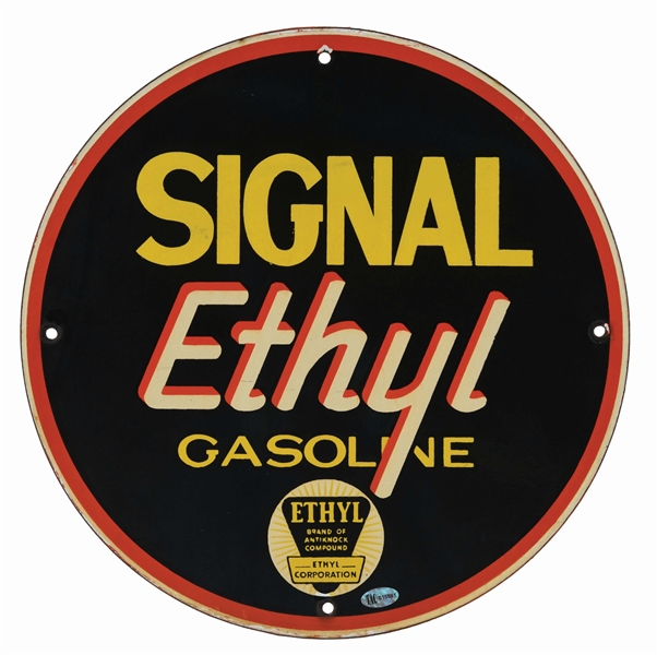 SIGNAL ETHYL GASOLINE PORCELAIN PUMP SIGN.