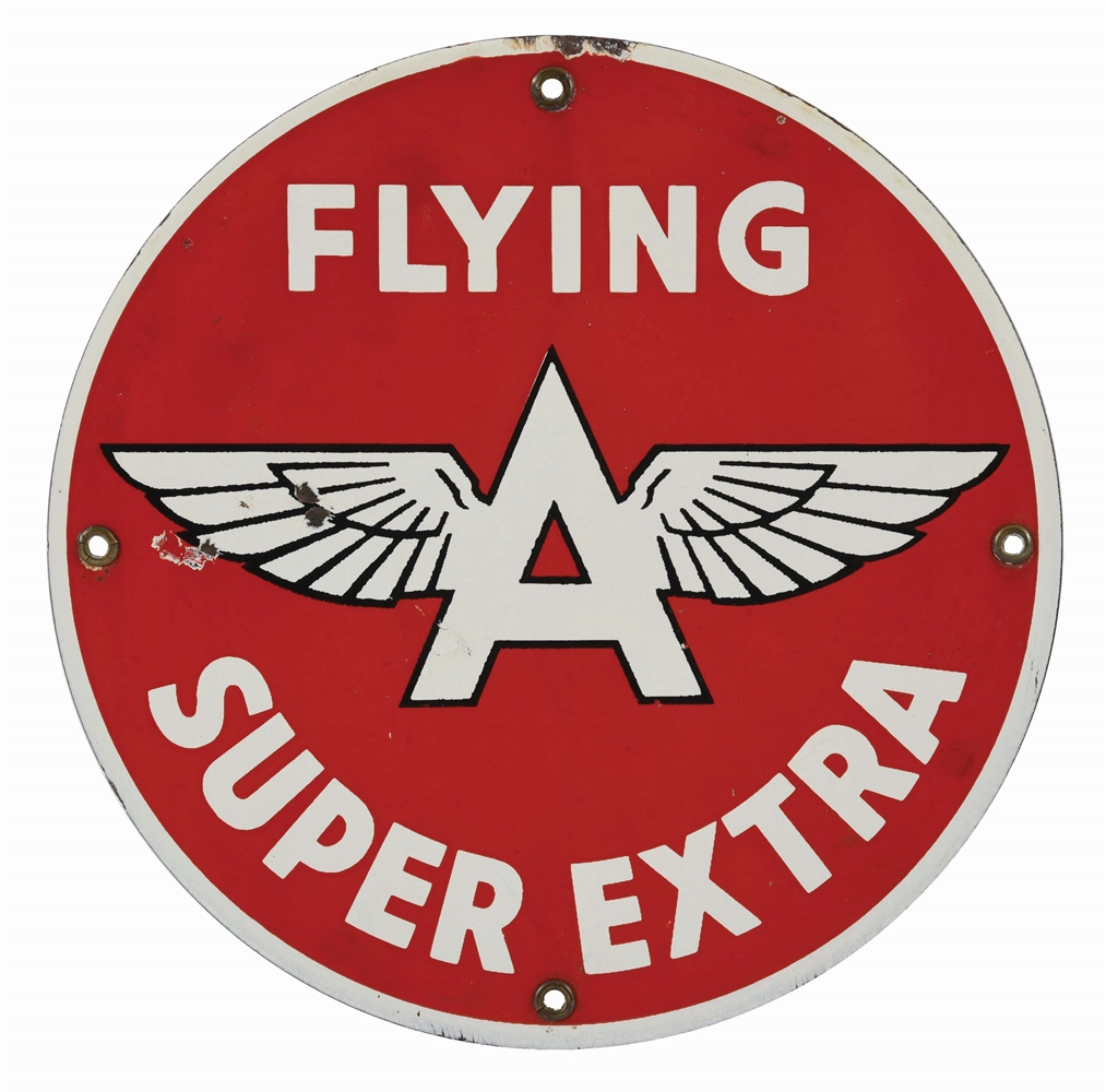 FLYING A SUPER EXTRA GASOLINE PORCELAIN PUMP SIGN.