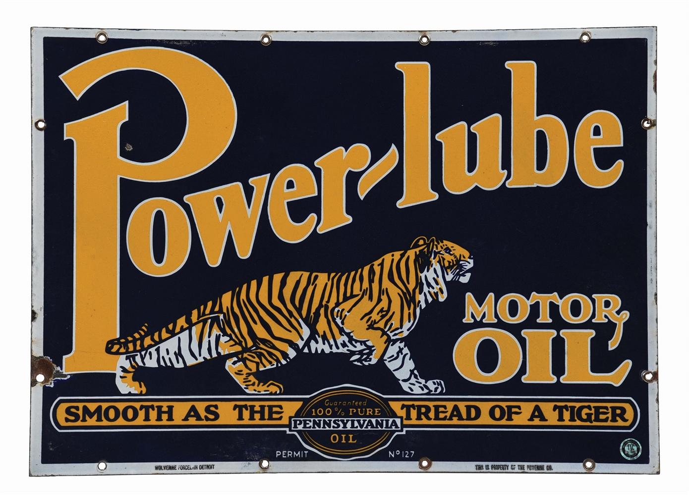 POWERLUBE MOTOR OIL PORCELAIN SIGN W/ TIGER GRAPHIC.