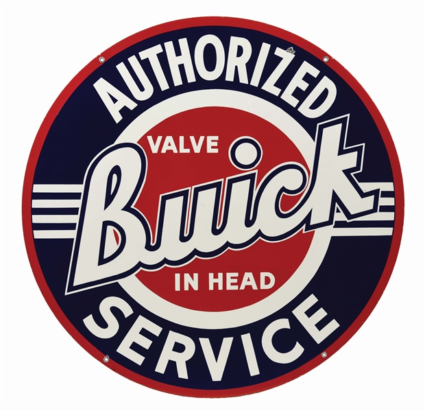 BUICK VALVE IN HEAD AUTHORIZED SERVICE PORCELAIN SIGN.