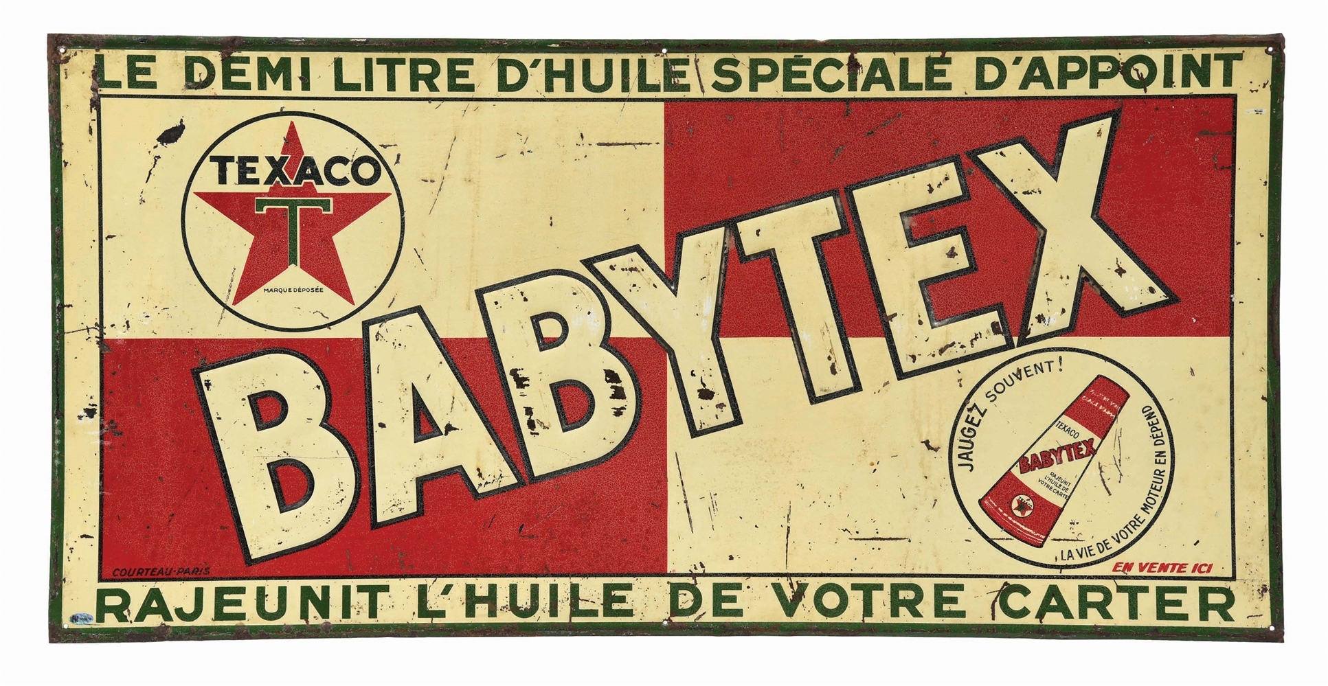 TEXACO BABYTEX MOTOR OIL  EMBOSSED TIN SIGN.