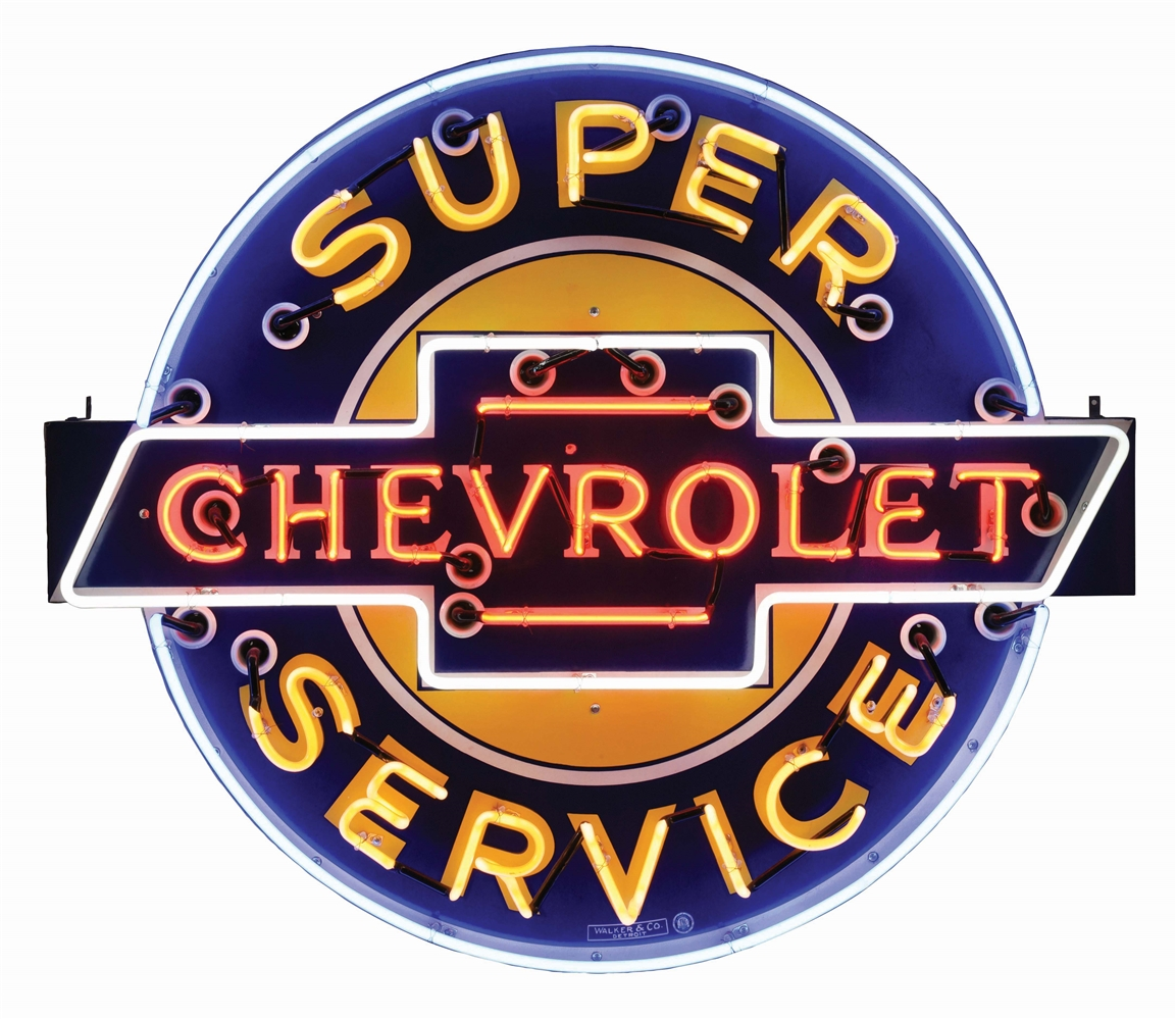 CHEVROLET SUPER SERVICE PORCELAIN NEON SIGN.