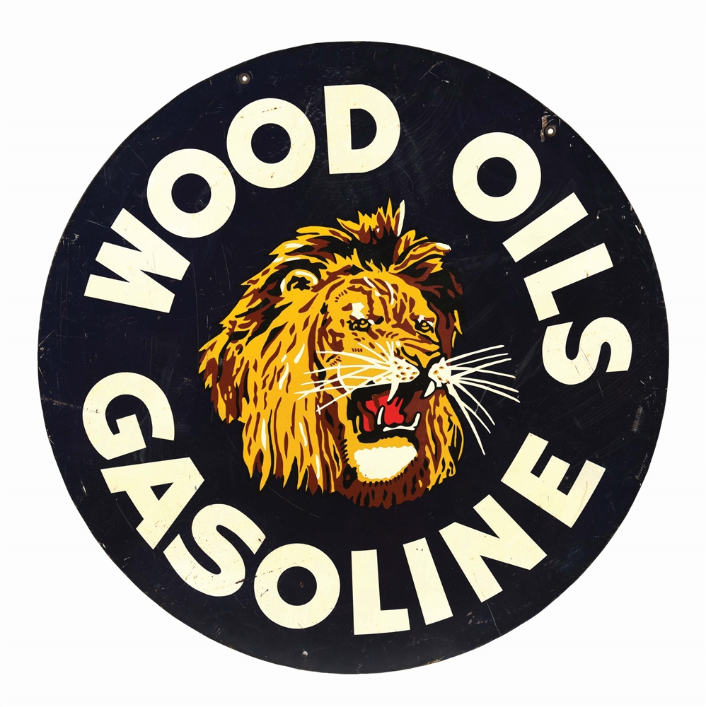 RARE WOOD OILS & GASOLINE TIN SERVICE STATION SIGN.