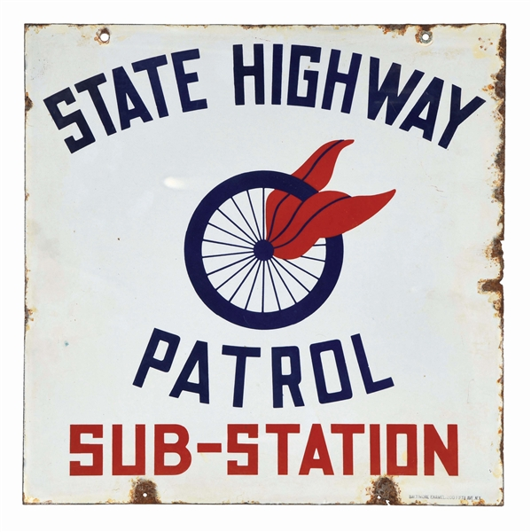 STATE HIGHWAY PATROL SUB STATION PORCELAIN SIGN W/ WHEEL GRAPHIC.