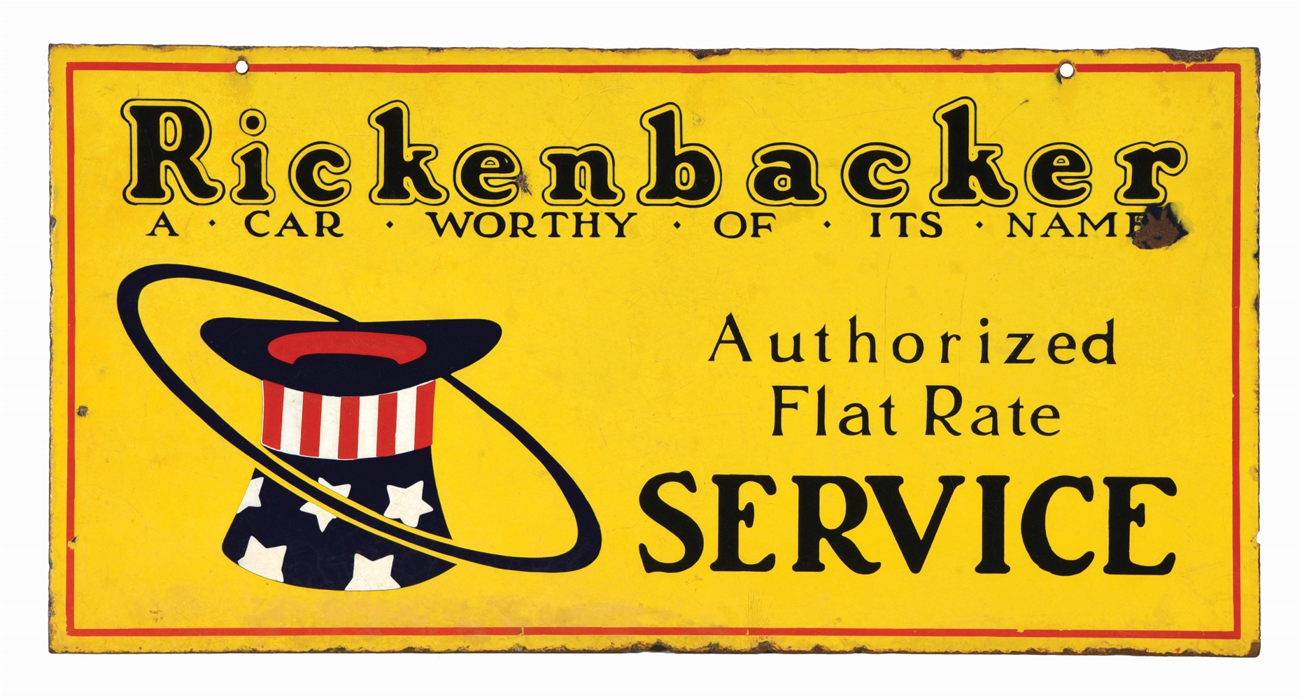 RICKENBACKER AUTOMOBILES AUTHORIZED SERVICE PORCELAIN SIGN W/ HAT GRAPHIC.