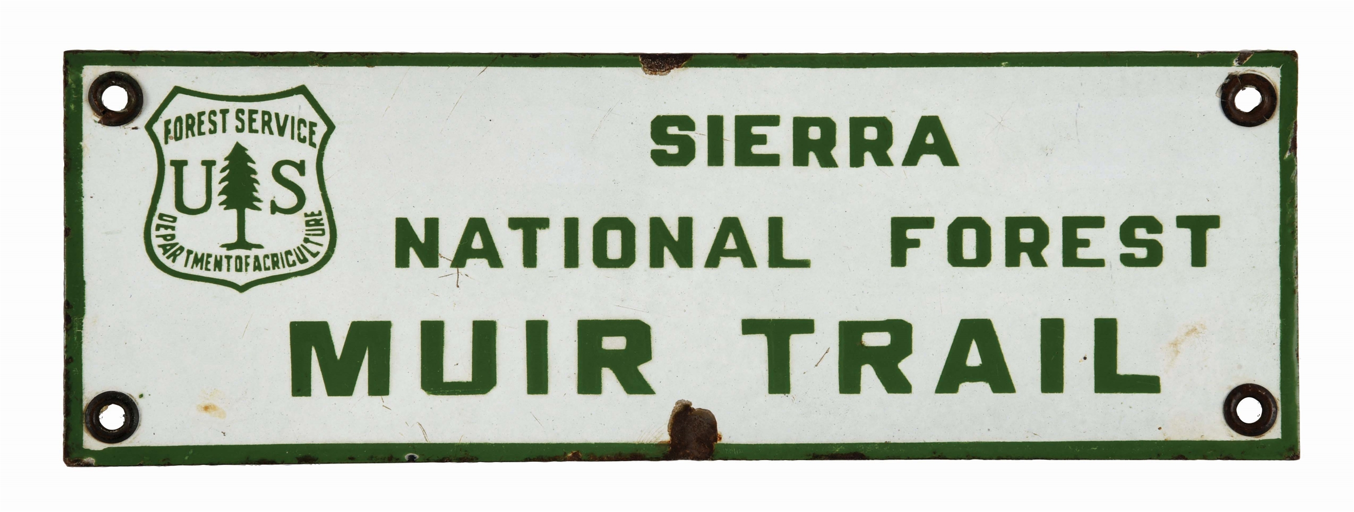 SIERRA NATIONAL FOREST MUIR TRAIL FOREST SERVICE PORCELAIN SIGN.