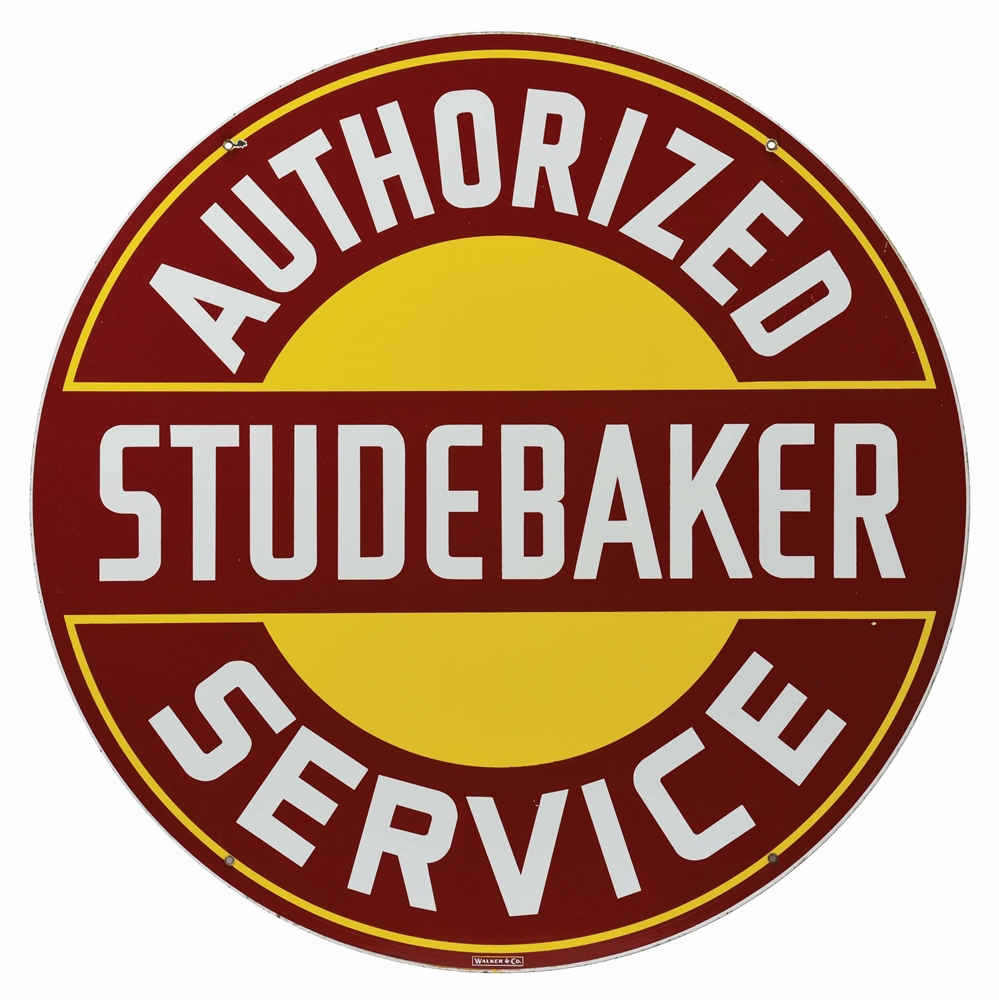 STUDEBAKER AUTHORIZED SERVICE PORCELAIN SIGN.