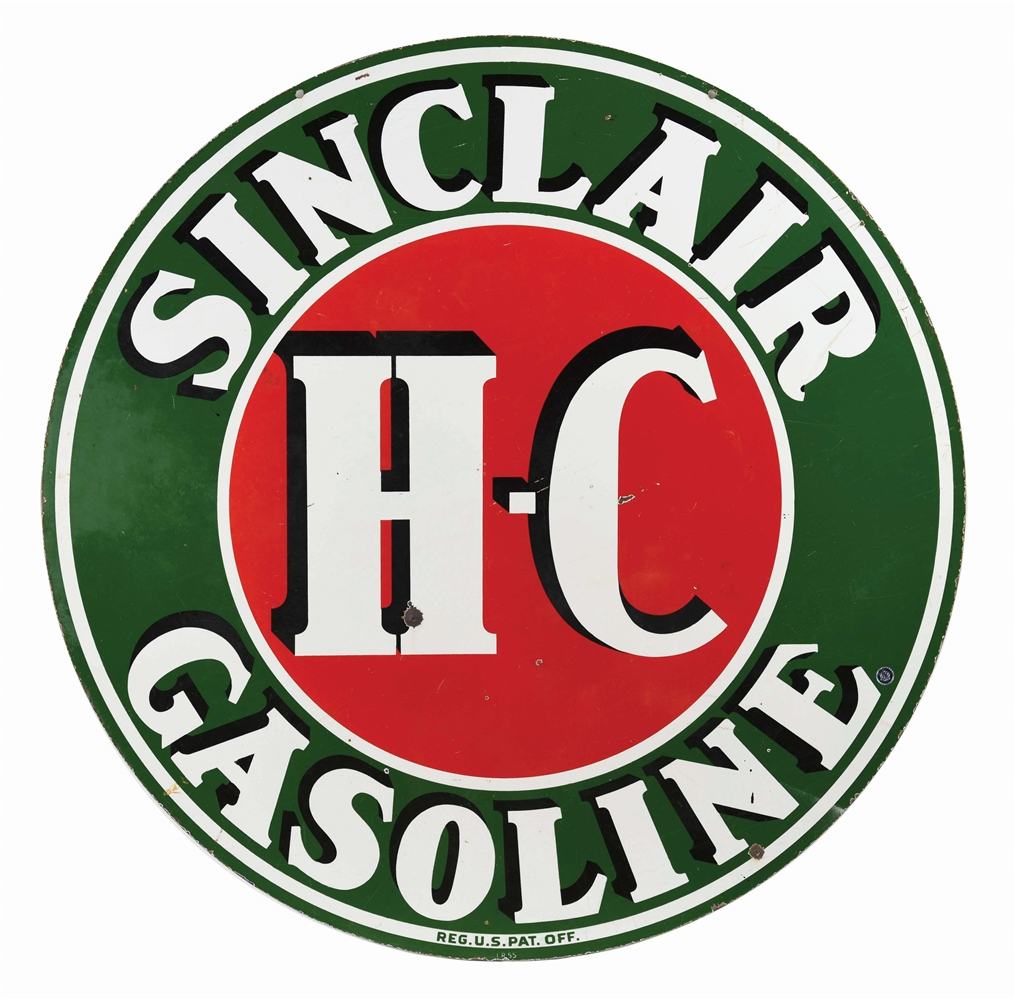 SINCLAIR HC GASOLINE PORCELAIN SIGN.