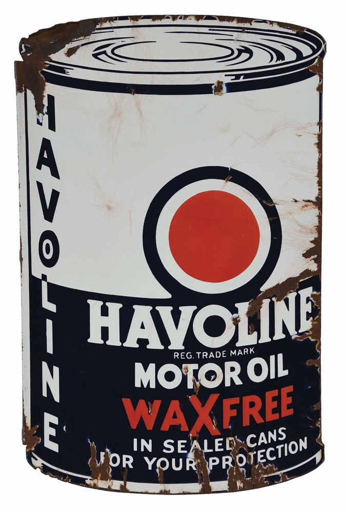 HAVOLINE WAX FREE MOTOR OIL DIE CUT PORCELAIN FLANGE SIGN.