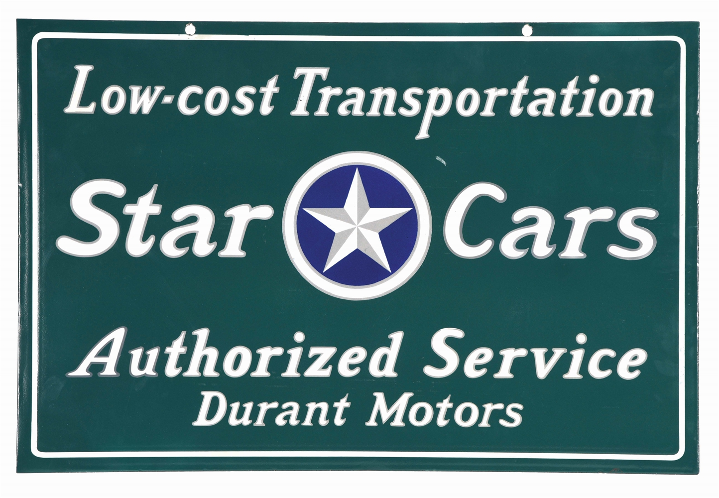 STAR CARS & DURANT MOTORS AUTHORIZED SERVICE SIGN.