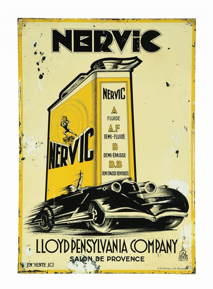 NERVIC MOTOR OIL TIN SIGN W/ SPEEDING CAR GRAPHIC.