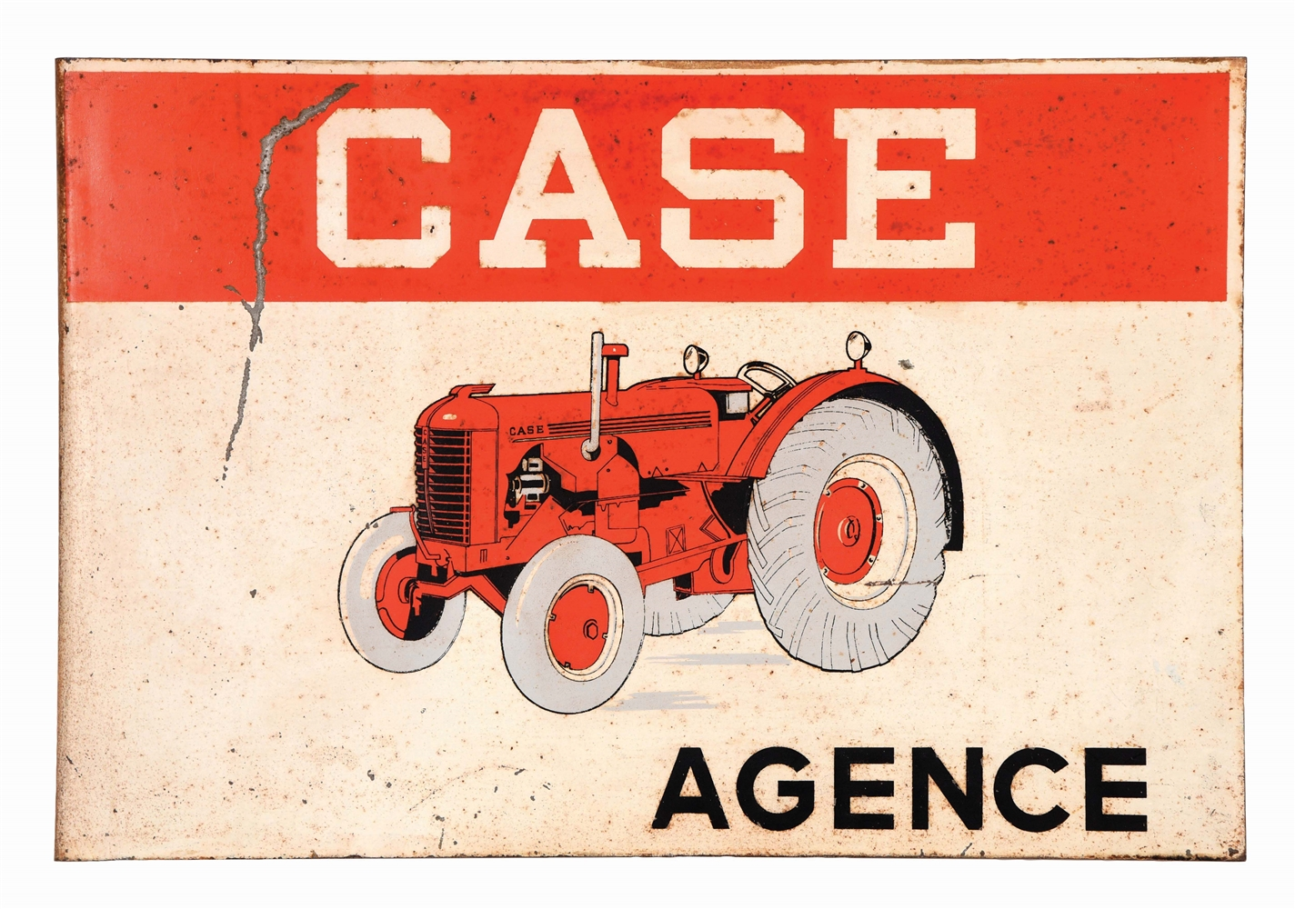 CASE TRACTORS AGENCY TIN FLANGE SIGN W/ TRACTOR GRAPHIC.