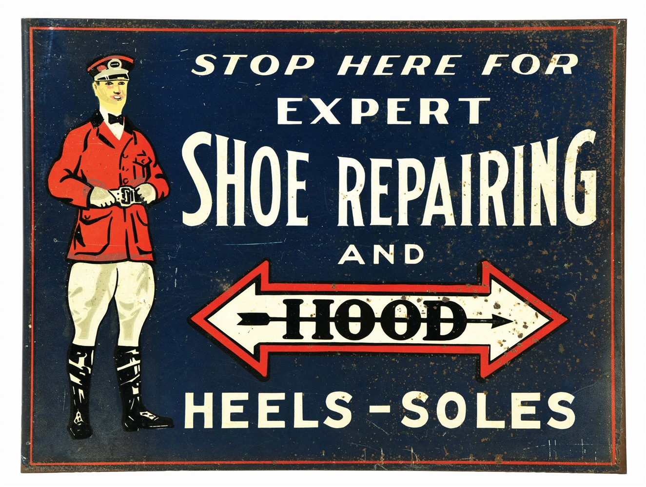 HOOD HEELS & SOLES TIN FLANGE SIGN W/ FLAGMAN GRAPHIC.
