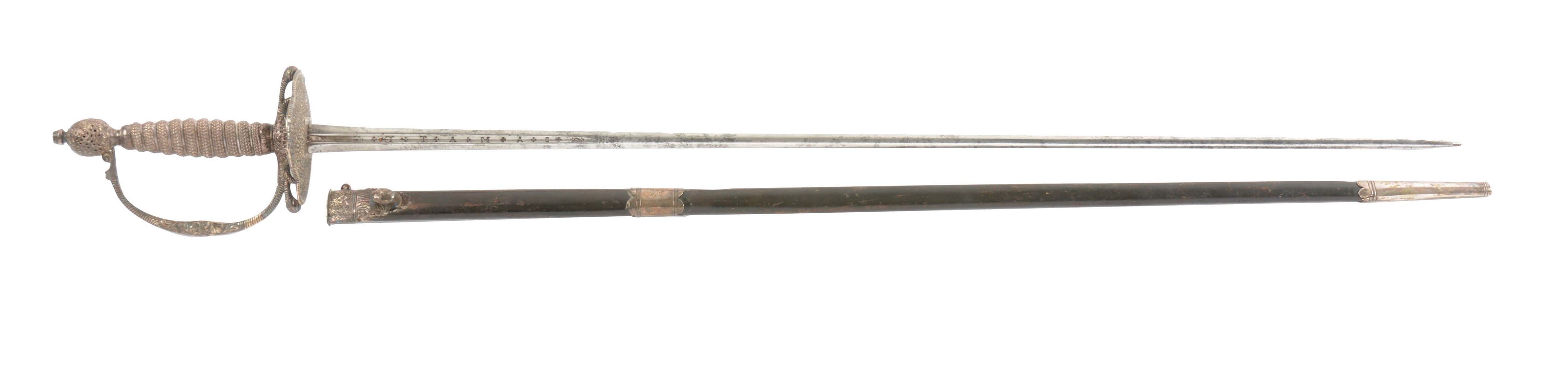 EXQUISITE ENGLISH PIERCED SILVER-HILTED SMALL SWORD AND SCABBARD BY BLAND, HALLMARKED FOR 1767.