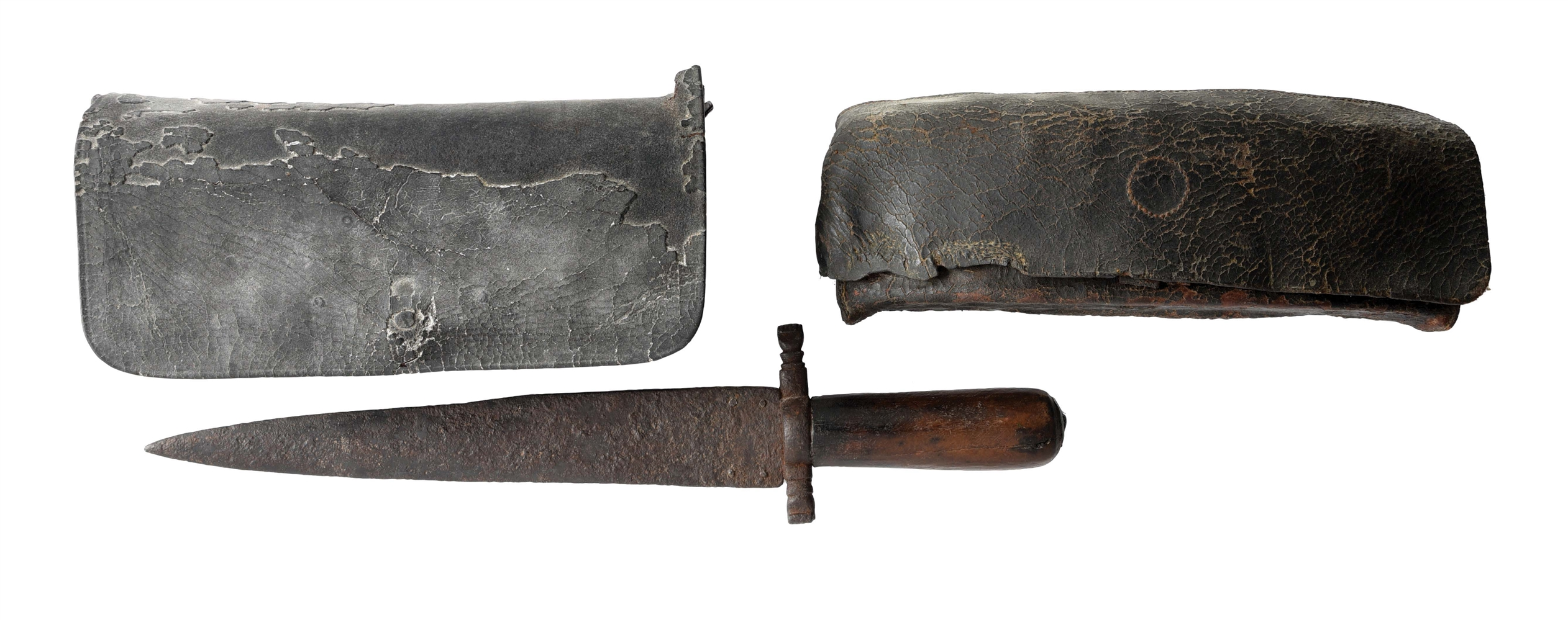 LOT OF 3: AMERICAN 1775-1783 24 HOLE CARTRIDGE BOX AND 1780-1820 24 HOLE CARTRIDGE BOX AND EARLY AMERICAN KNIFE.