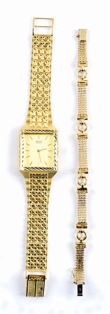 LOT OF 2: 14K GOLD WATCH W/BAND AND BRACELET.