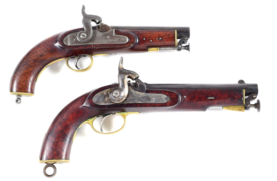 (A) LOT OF 2: TOWER COAST GUARD PISTOL AND A PRYSE & REDMOND 1858 PATTERN PERCUSSION PISTOL.