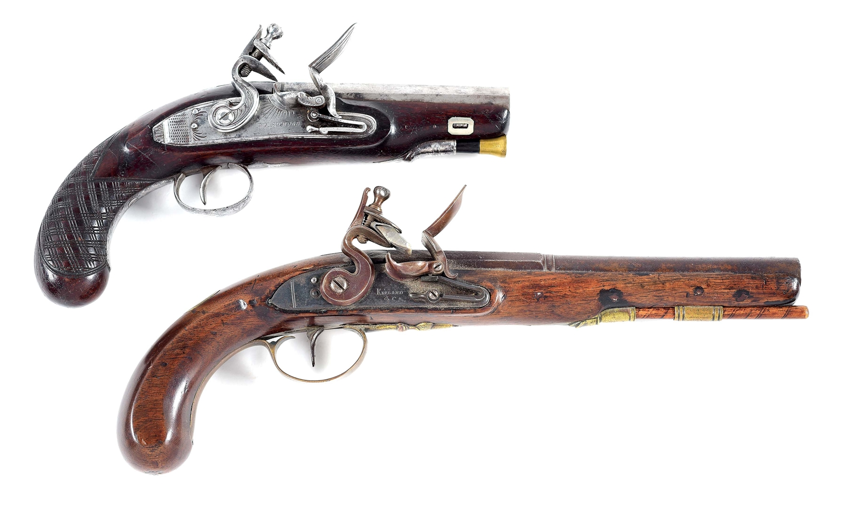 (A) LOT OF 2: WESTWOOD FLINTLOCK GREATCOAT PISTOL AND A KETLAND & CO FLINTLOCK PISTOL.