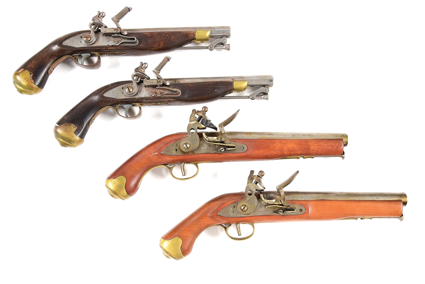 (A) LOT OF 4: REPRODUCTION BRITISH PATTERN FLINTLOCK PISTOLS.