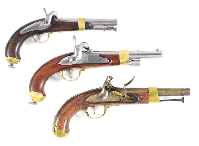 (A) LOT OF 3: 2 PERCUSSION AND 1 FLINTLOCK PISTOL.