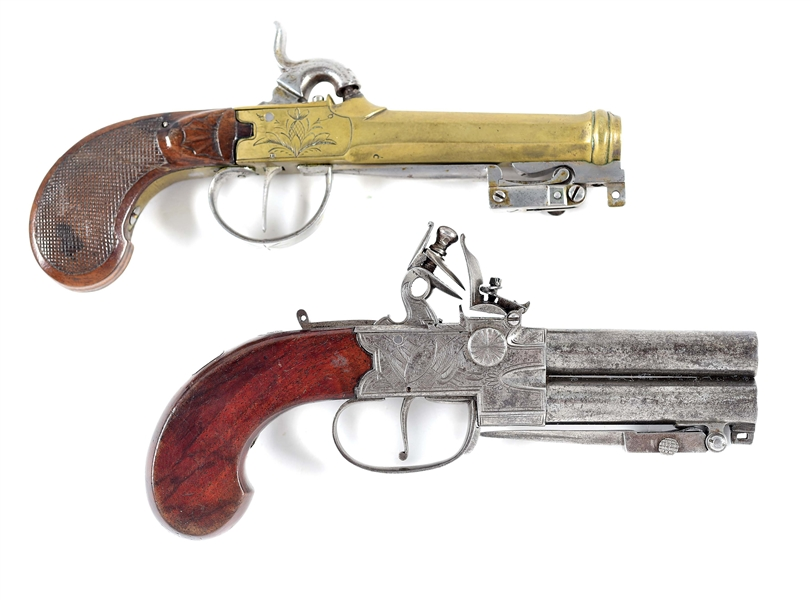 (A) WONDERFUL PAIR OF BAYONETED MUFF PISTOLS.