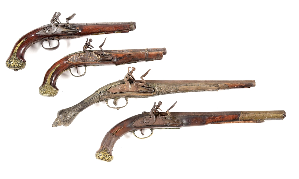 (A) LOT OF 4: MIDDLE EASTERN AND MEDITERRANEAN FLINT PISTOLS.
