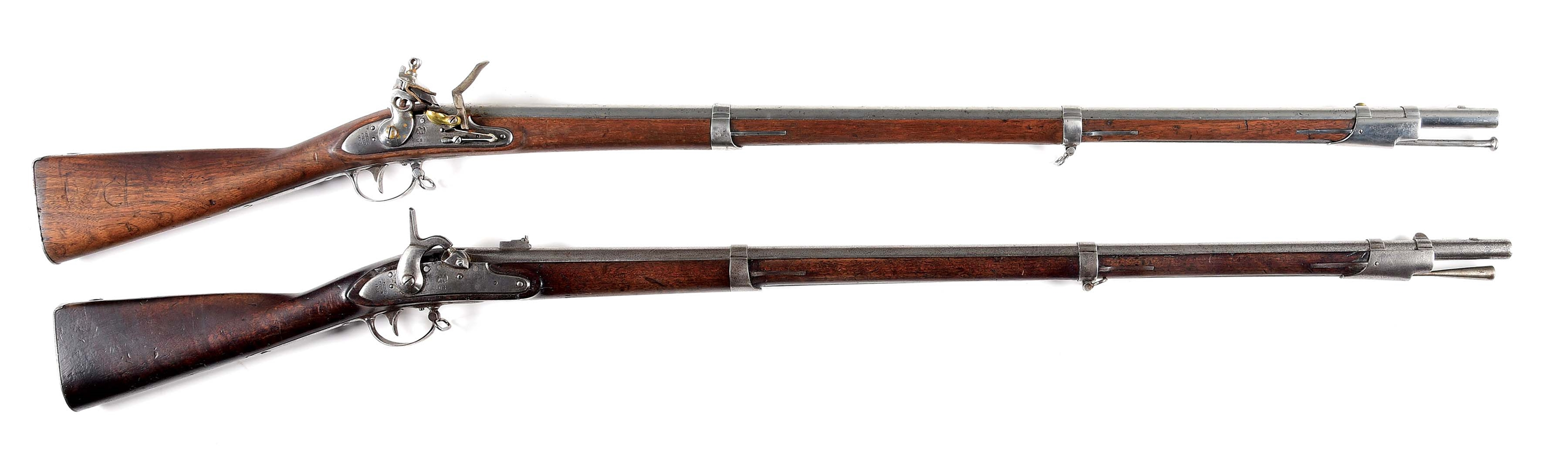 (A) COLLECTORS LOT OF 2: MODEL 1816 FLINTLOCK AND 1861 DATED H&P RIFLE AND SIGHTED CONVERSION.