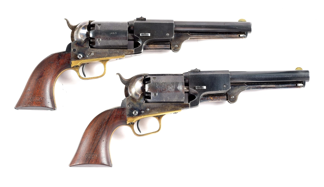 (A) CASED PAIR OF REPRODUCTION CONSECUTIVE SERIAL NUMBERED COLT DRAGOON PERCUSSION REVOLVERS.
