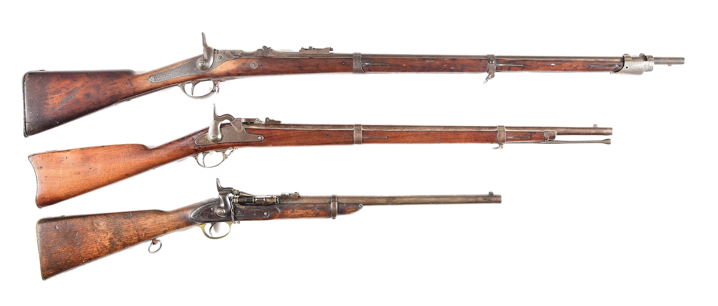 (A) LOT OF 3: BREECH LOADING SINGLE SHOT RIFLES.