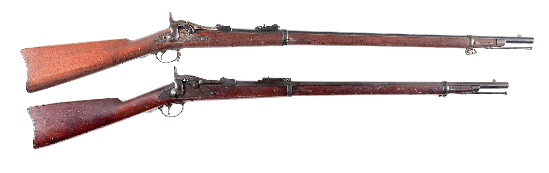 (A) LOT OF 2: SPRINGFIELD 1884 AND 1879 CADET TRAPDOOR SINGLE SHOT RIFLES.