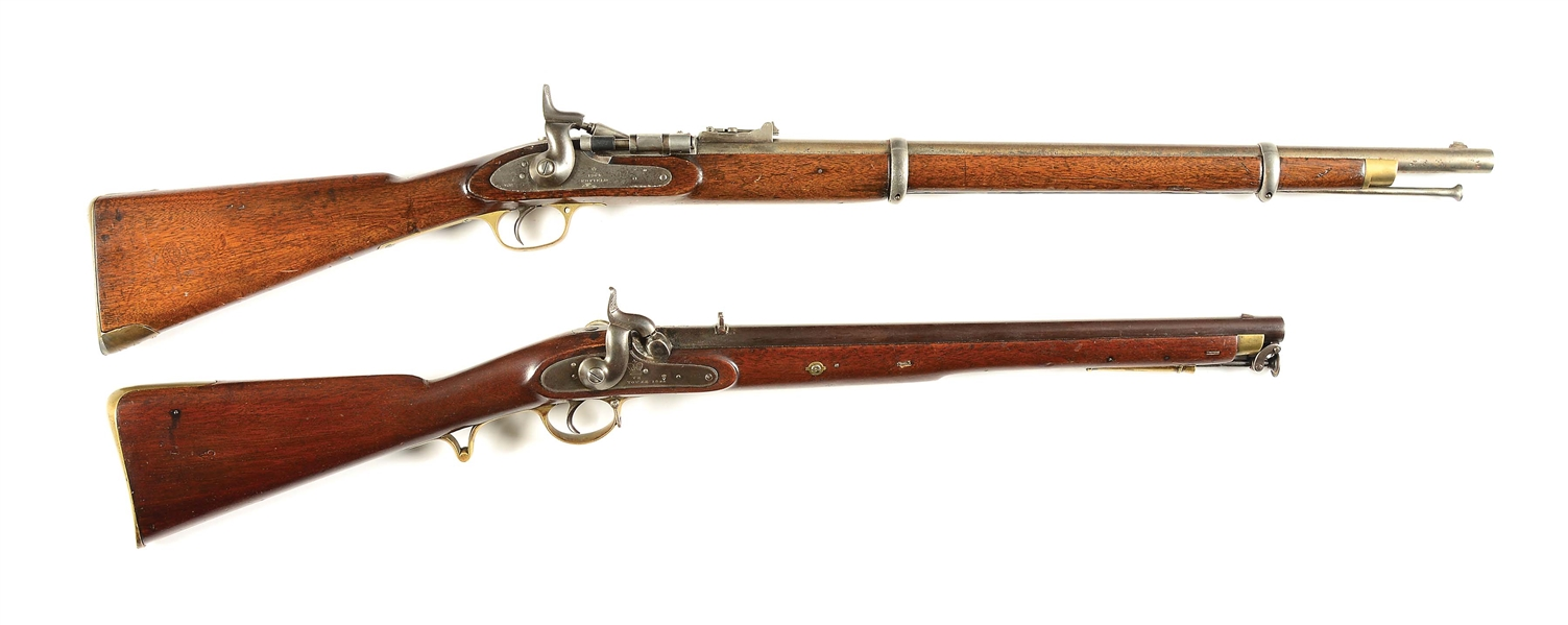 (A) LOT OF 2: BRITISH PATTERN 1853 SNIDER CONVERSION AND TOWER SINGLE SHOT CARBINE.