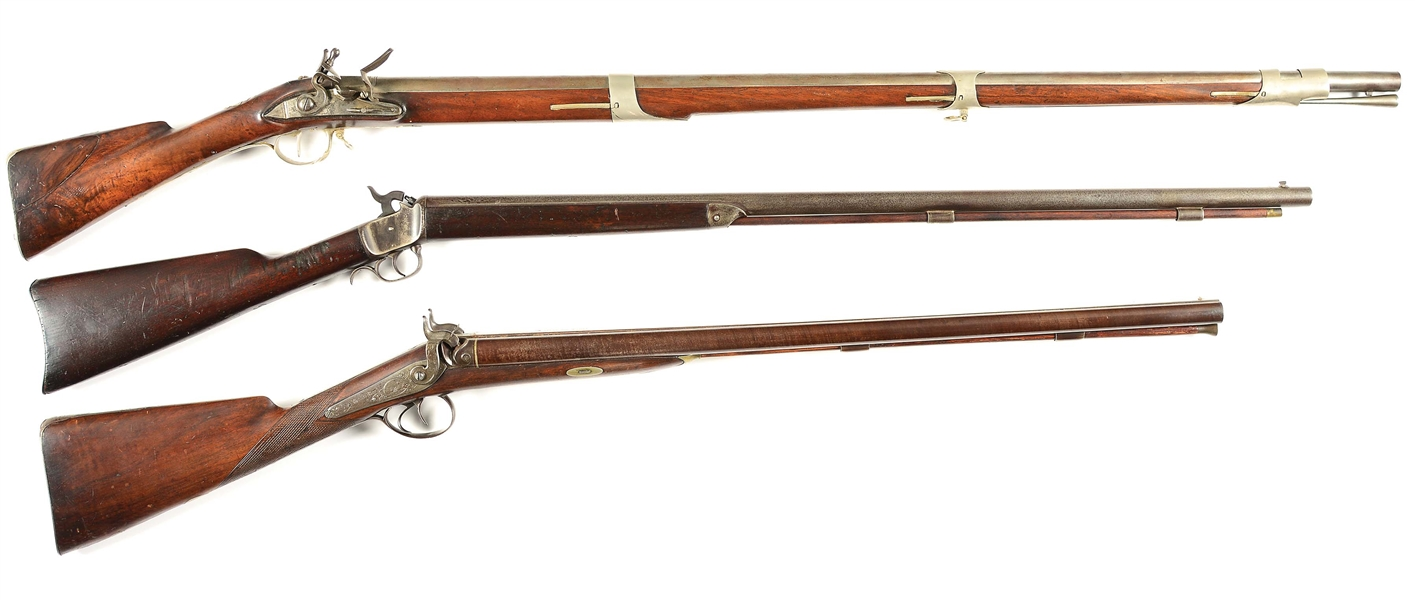(A) LOT OF THREE FLINTLOCK AND PERCUSSION RIFLE AND SHOTGUNS.