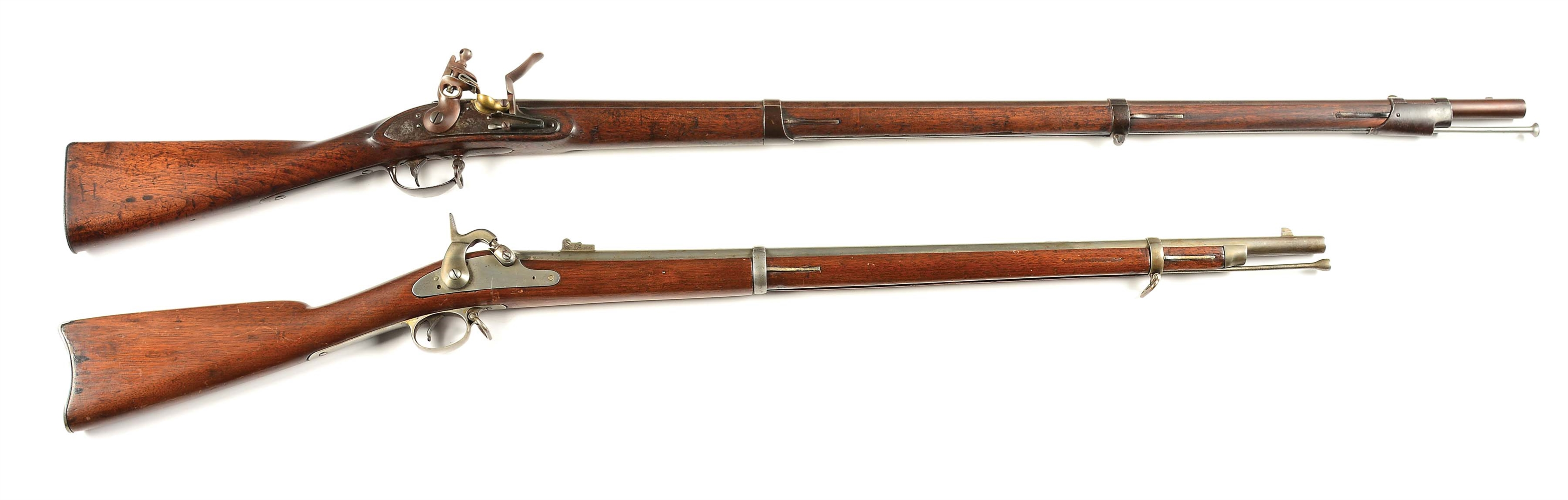 (A) LOT OF 2: SPRINGFIELD FLINTLOCK AND PERCUSSION RIFLES.
