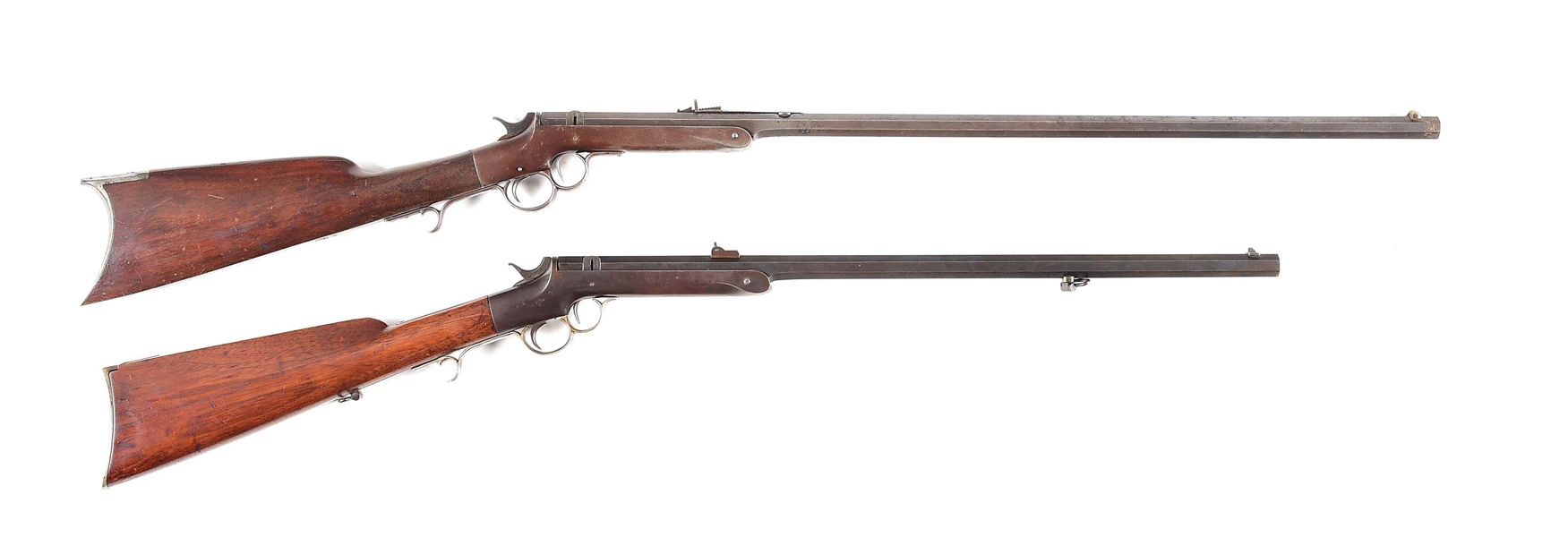 (A) LOT OF TWO: TWO FRANK WESSON SINGLE SHOT RIFLES.