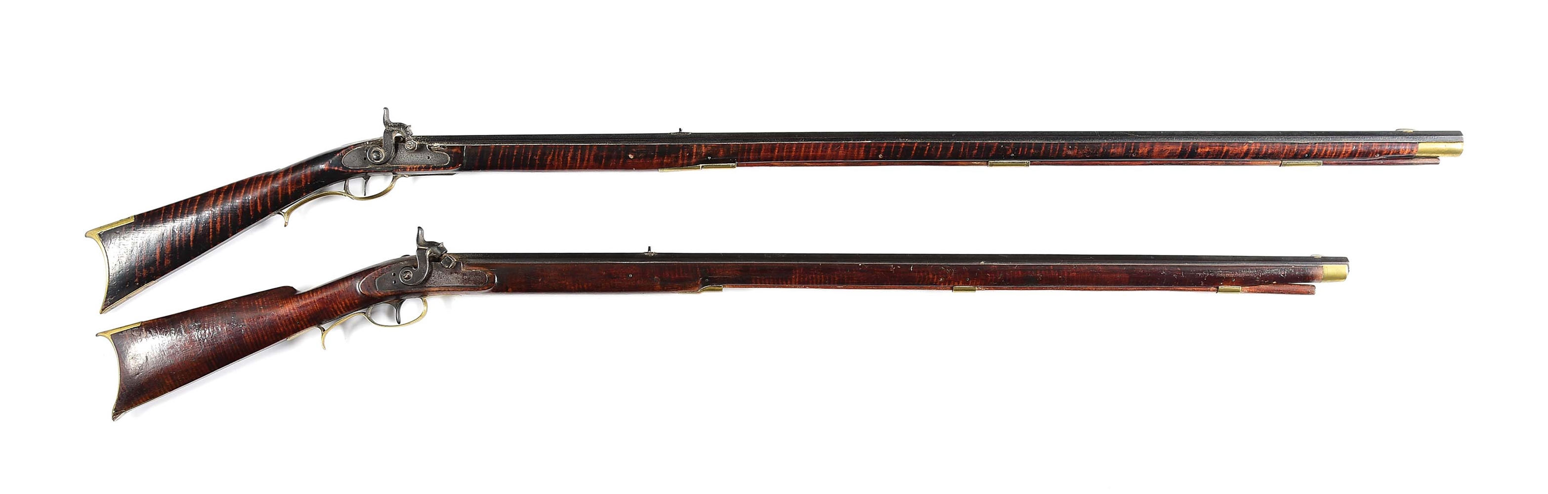 (A) LOT OF TWO: TWO KENTUCKY PERCUSSION RIFLES.
