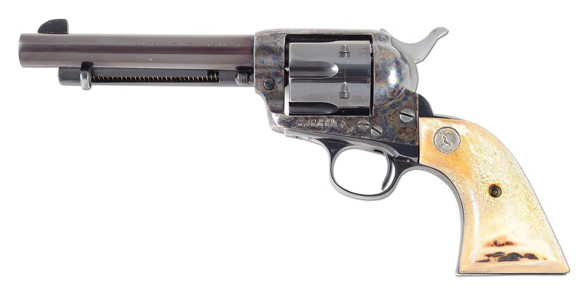 (C) COLT SINGLE ACTION ARMY REVOLVER WITH HOLSTER.
