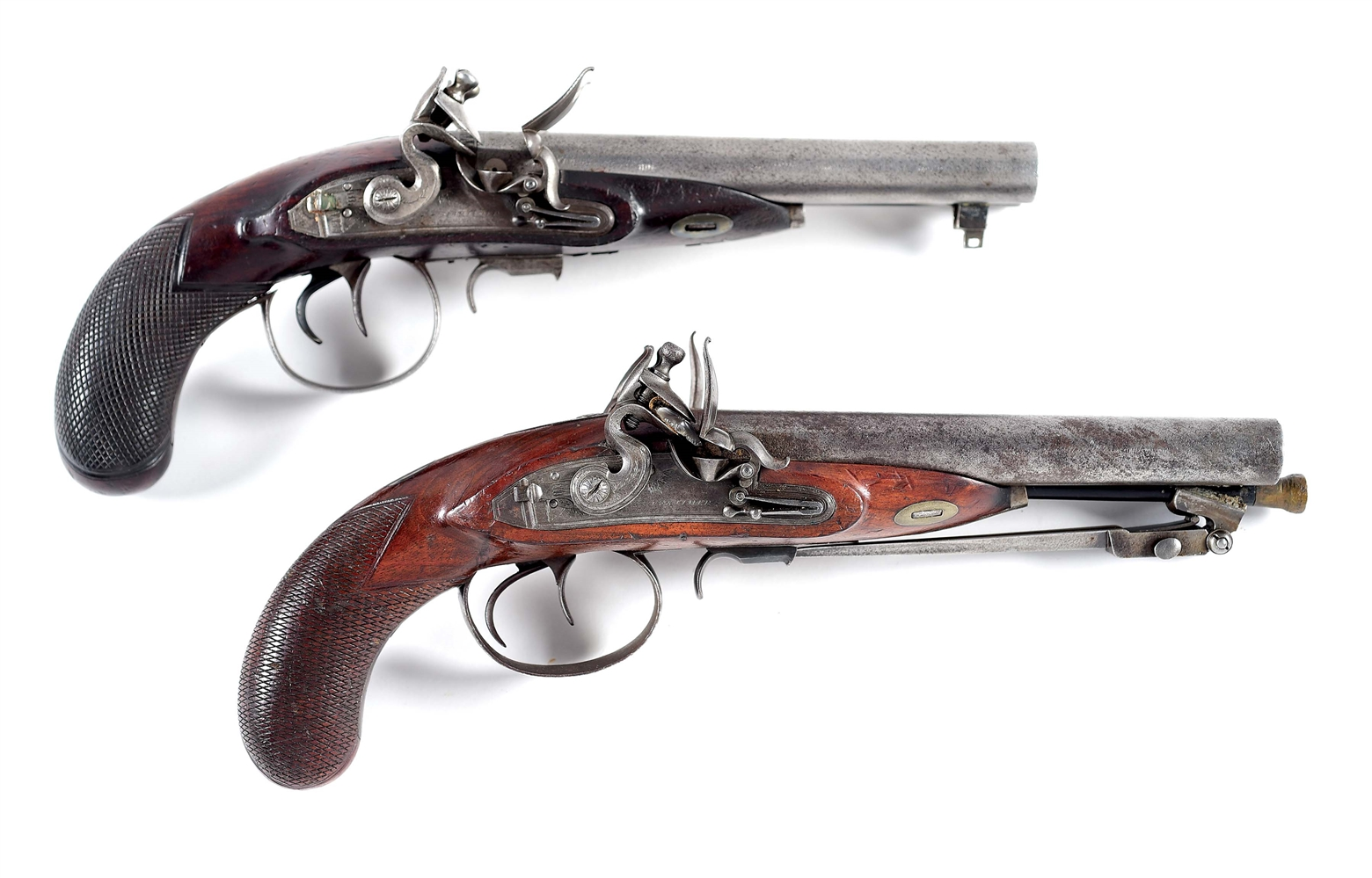 (A) PAIR OF MORTIMER .62 CALIBER HOWDAH PISTOLS.