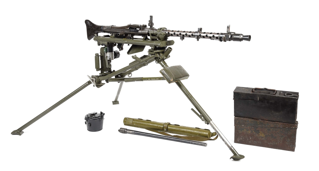 (N) SCARCE EARLY 1938 BERLIN SUHLER-WAFFEN MG-34 MACHINE GUN WITH LAFETTE TRIPOD AND ACCESSORIES (PRE-86 DEALER SAMPLE).