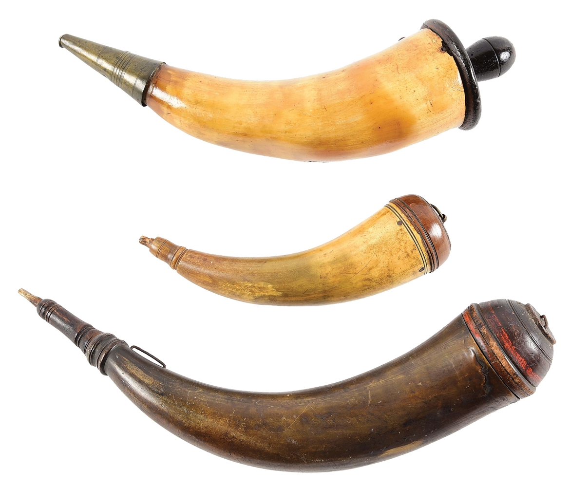 LOT OF 3: SCREW TIP AND BRITISH ORDNANCE POWDER HORNS.